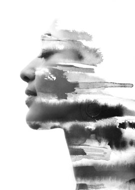 Portrait photography blends in with original artwork creating a dreamlike mood