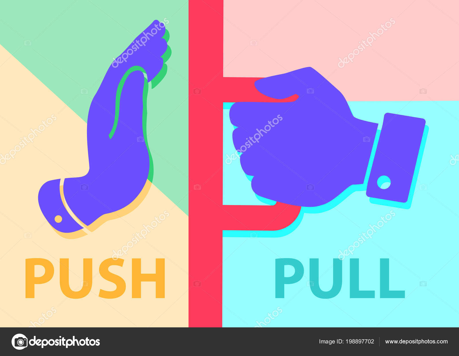 Flat modern art design graphic image push pull icon pastel stock vector