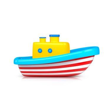 Ship toy studio shot. 3d illustration