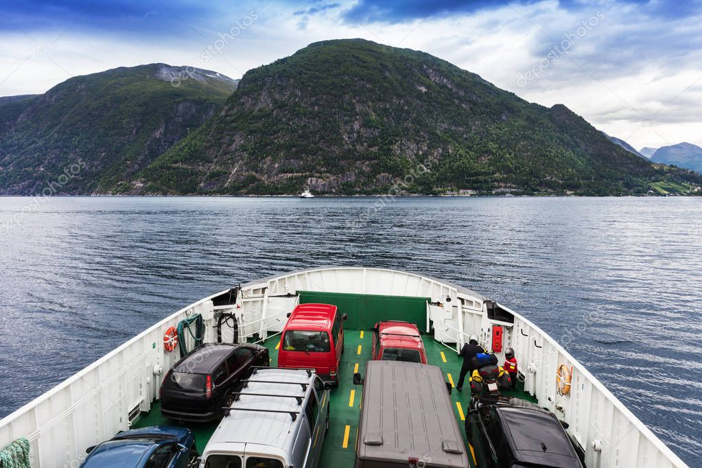 ferry that transports cars, fjord Norway