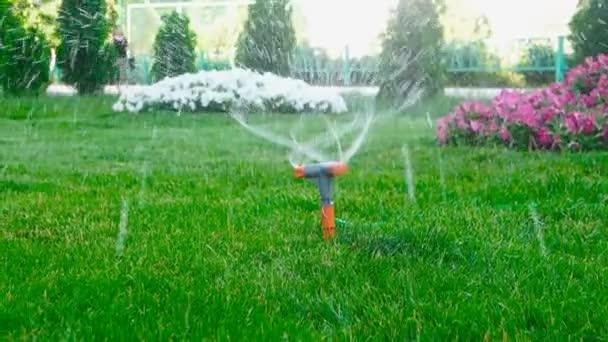 Zahradní postřikovače boční pohled. Zahradní postřikovače zavlažování trávníku. Postřikovací pracovní.