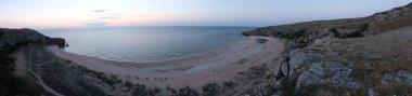 Wild beach on Island panoramic view