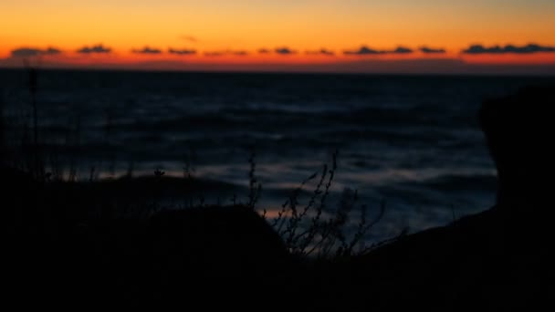 Gold-orange sea sunset with silhouettes of rocks on foreground and fluttering grass