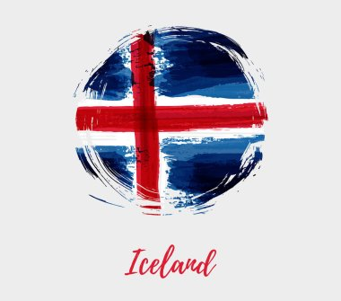 Iceland grunge watercolor flag in round shape. Temaplte for national holiday background.