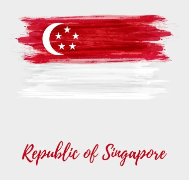 Republic of Singapore background with abstract watercolor grunge flag. National day holiday template for poster, banner, invitation, flyer, etc.