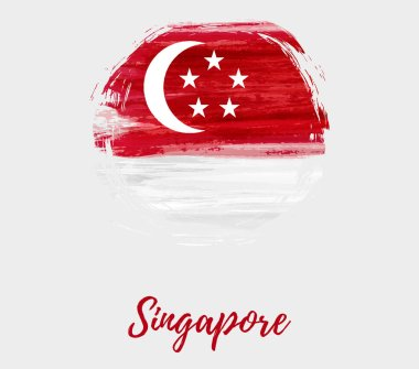 Singapore Independence day background with abstract watercolor grunge flag in round shape. National day holiday template for poster, banner, invitation, flyer, etc.