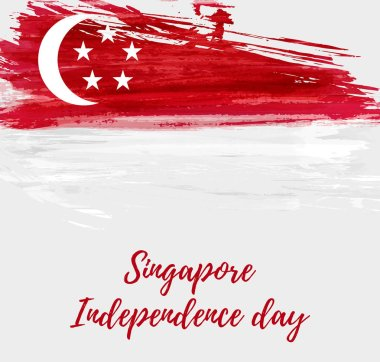 Singapore Independence day background with abstract watercolor grunge flag. National day holiday template for poster, banner, invitation, flyer, etc.