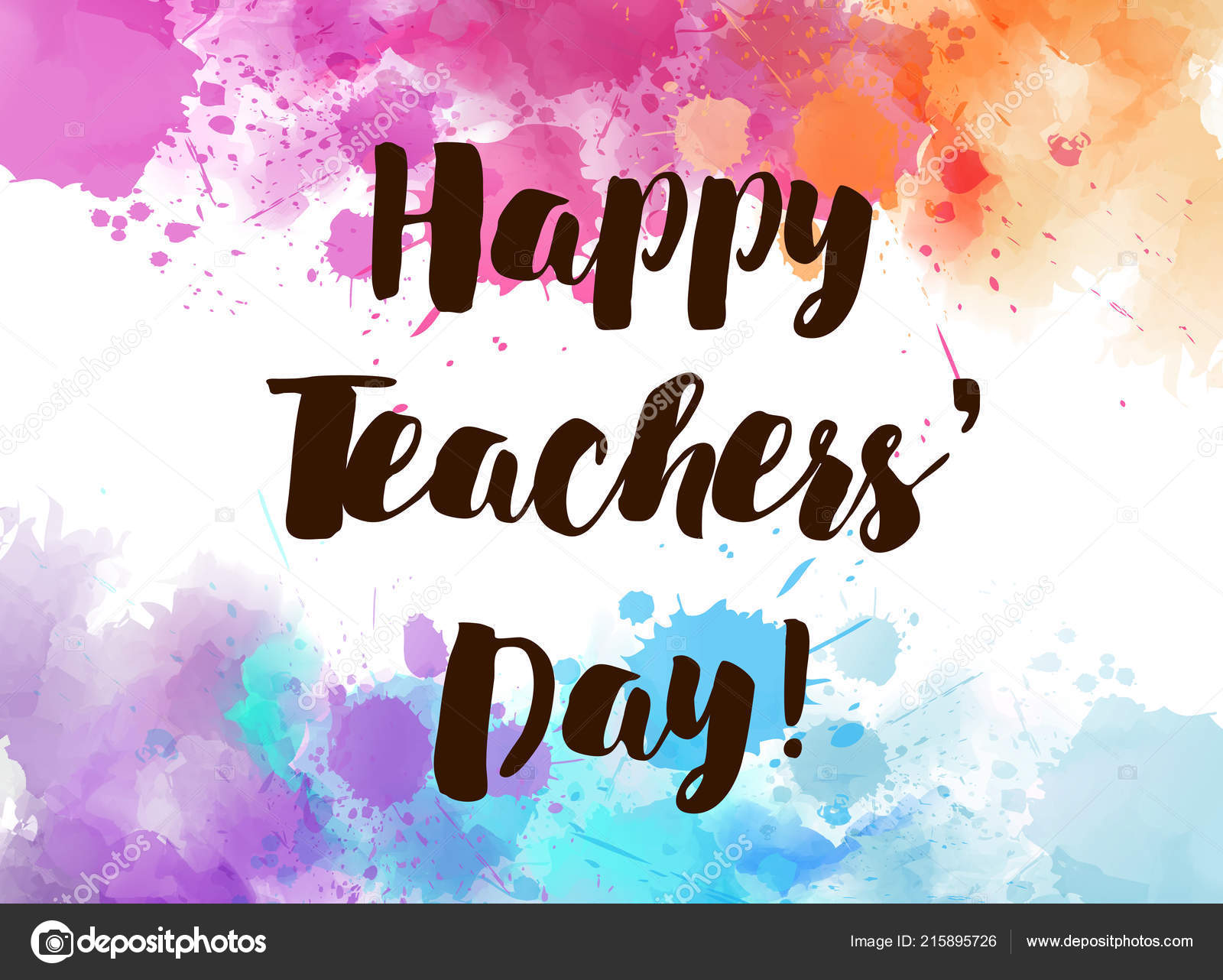 Happy Teachers Day Watercolor Splashes Holiday Background