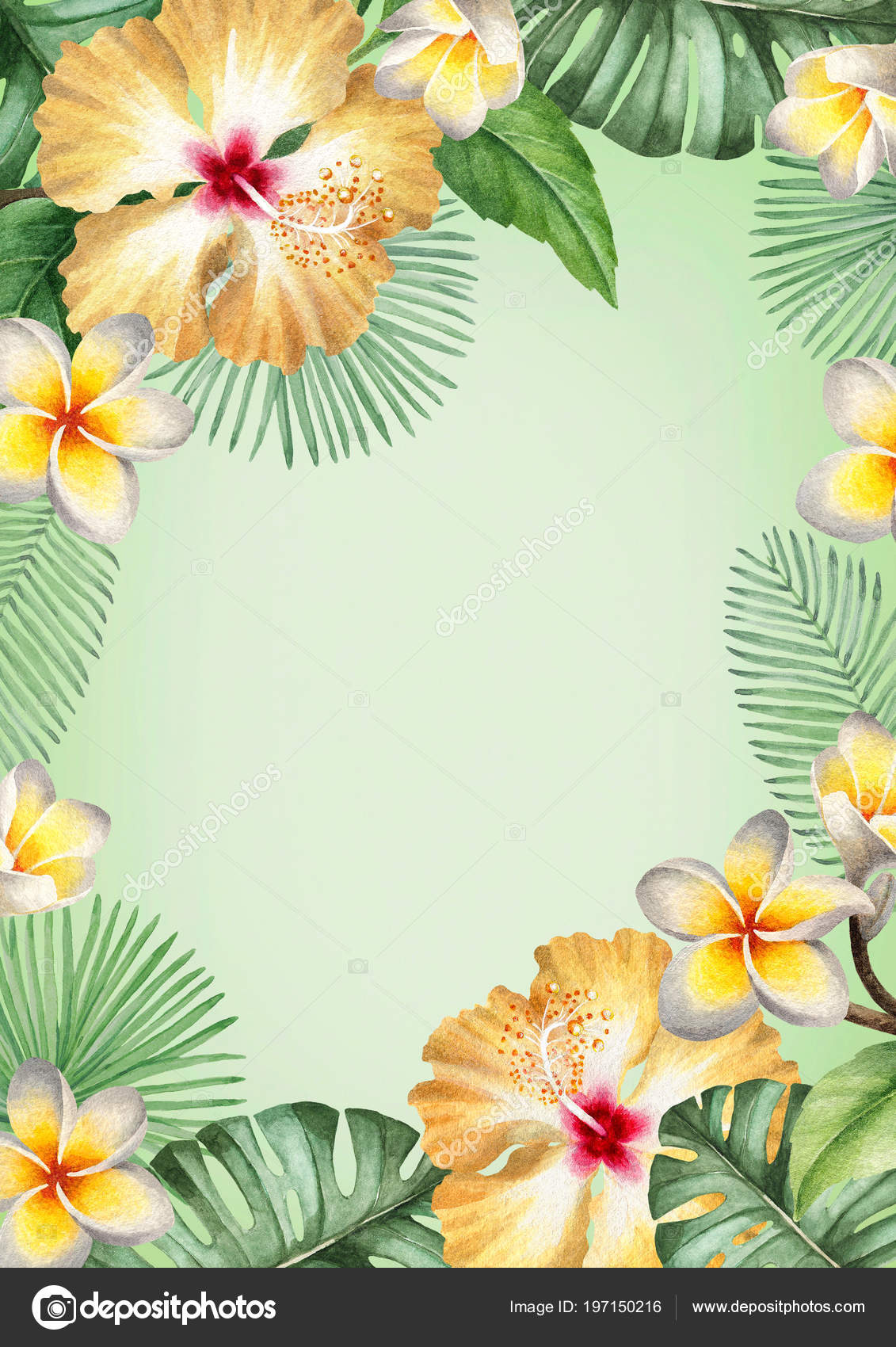 Watercolor Tropical Floral Background Stock Photo C Sashsmir
