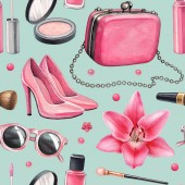 Illustrations of make up products and accessories. Seamless pattern