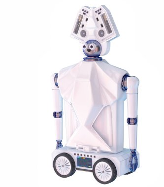 Robot toy on wheels for kid. White plastic robotic device.