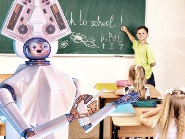 Teacher robot with school children in school class near blackboard.