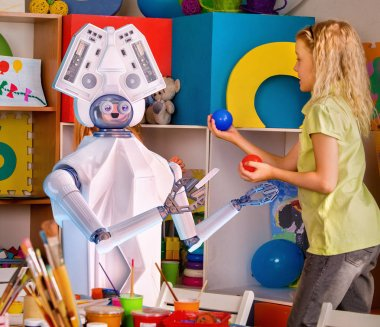 Child training of artificial intelligence by robot.