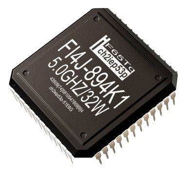 Integrated circuit of digital computer parts. Micro chip artificial intelligence.