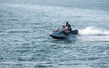 Jet ski or wave runner in ocean off Ilfracombe