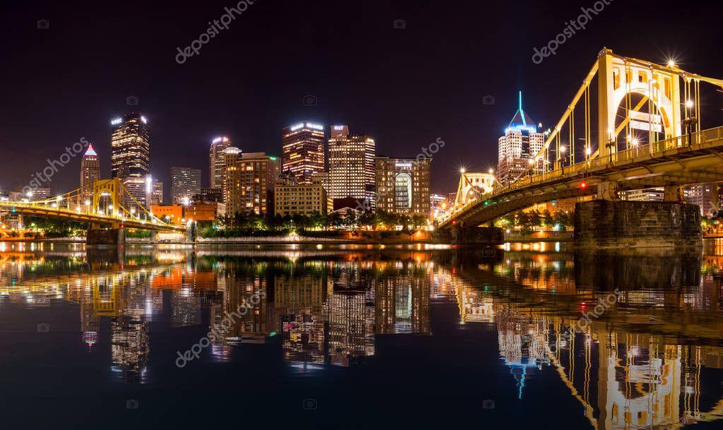 City Skyline of Pittsburgh at night