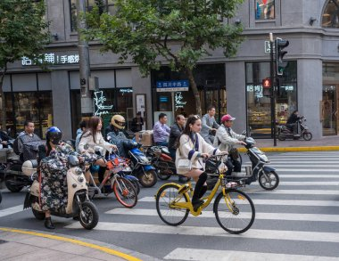 Cycling on Sichuan Road in Shanghai