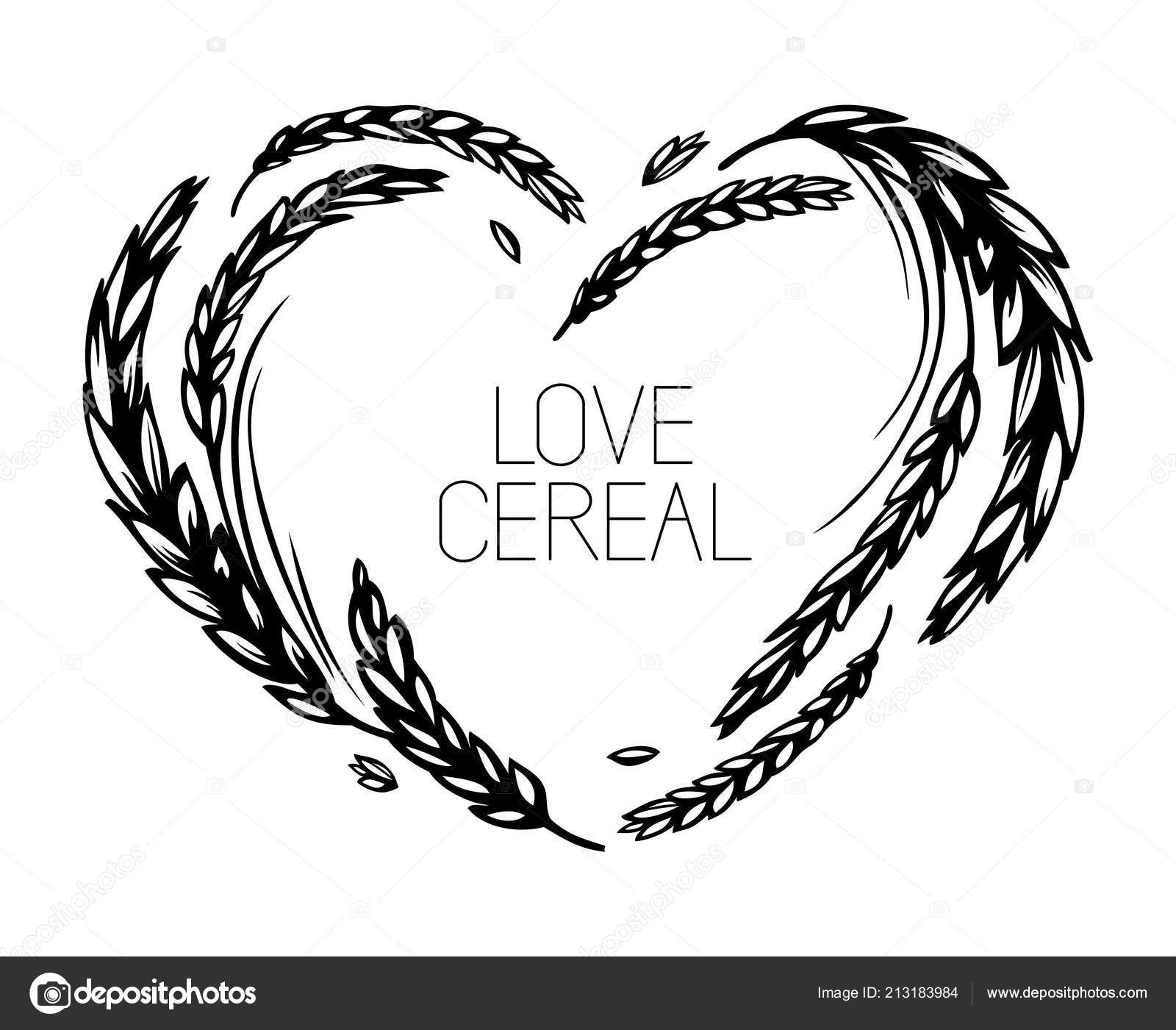 Wheat Heart Frame Wreath White Background Love Cereal Black White ...