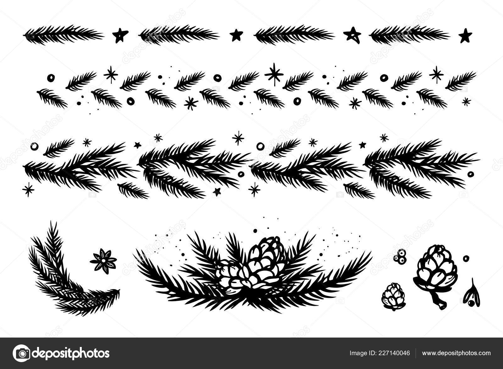 Christmas Border Black And White.Christmas Border Set Fir Branches Cones Stars Snowflakes