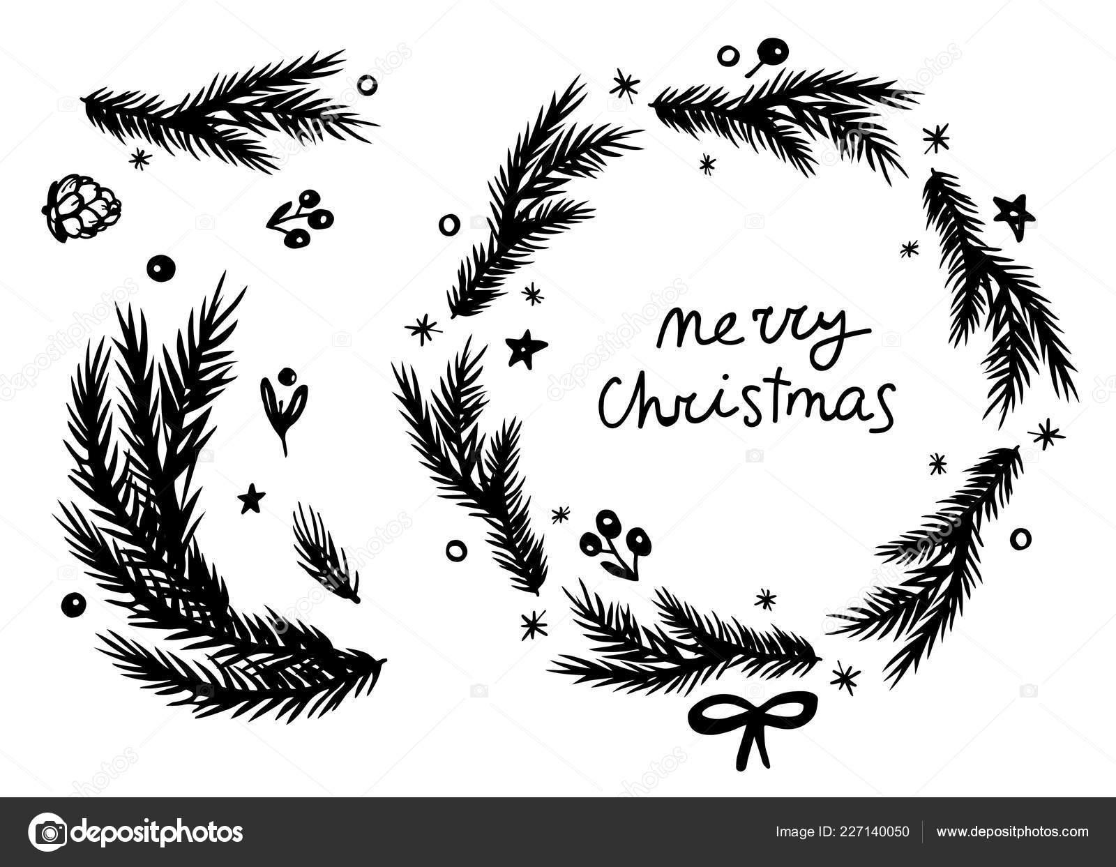 Guirlande Sapin Joyeux Noël Branche Cône Définis Noir Blanc