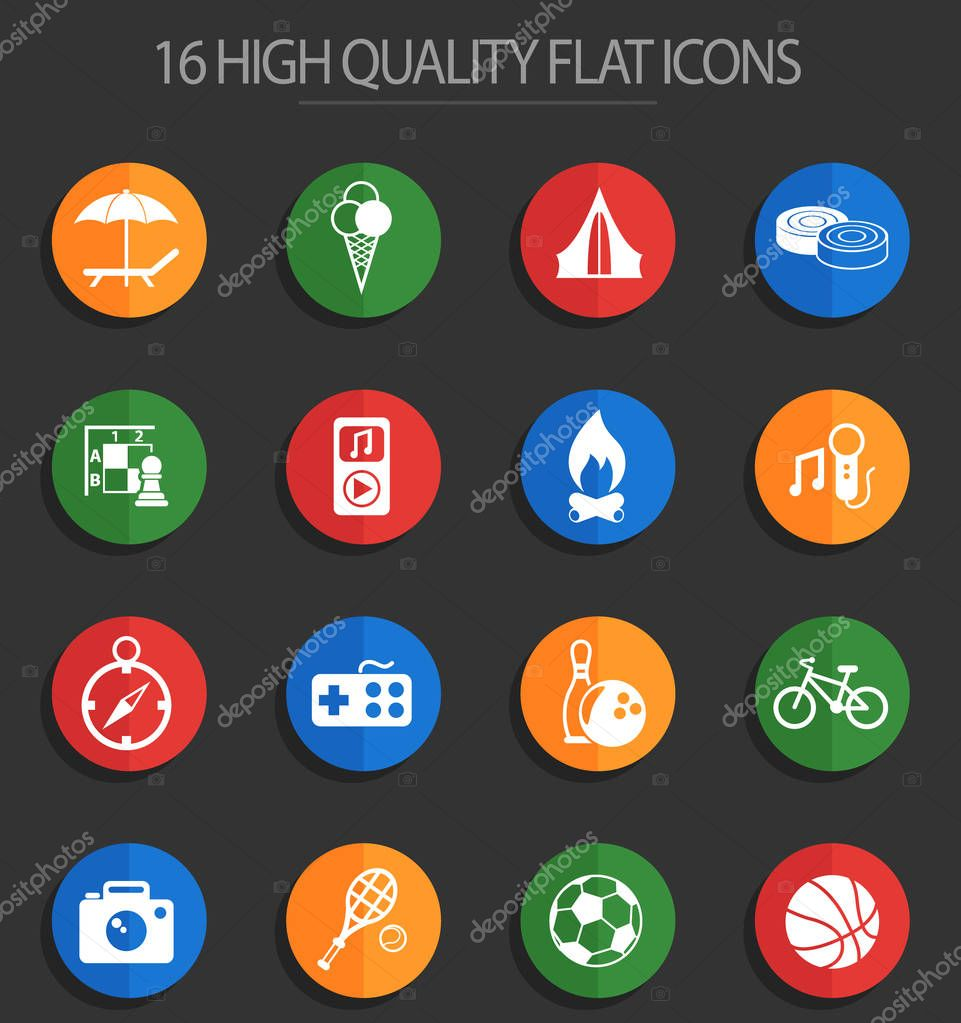 leisure 16 flat icons