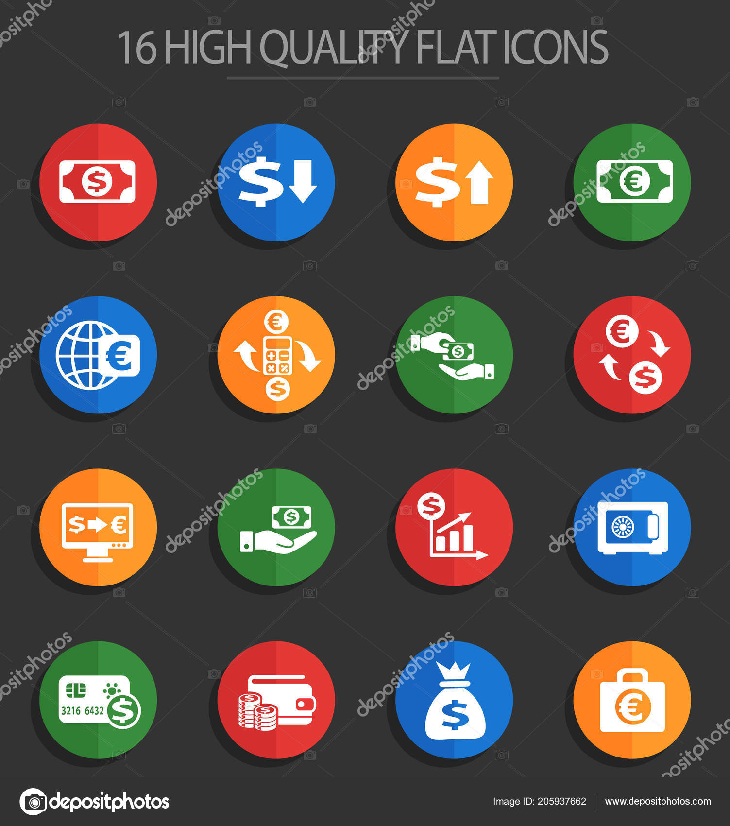 Currency exchange 16 flat icons — Stock Vector © ayax55