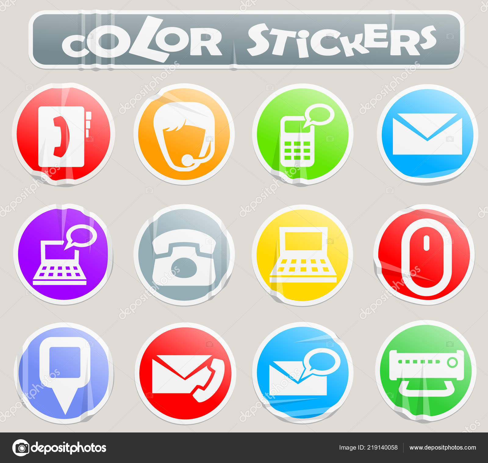 Contact us color stickers stock illustration