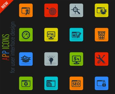 seo and development vector color web icons on dark background for user interface design