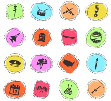 Veterans Day color vector icons for web and user interface icon