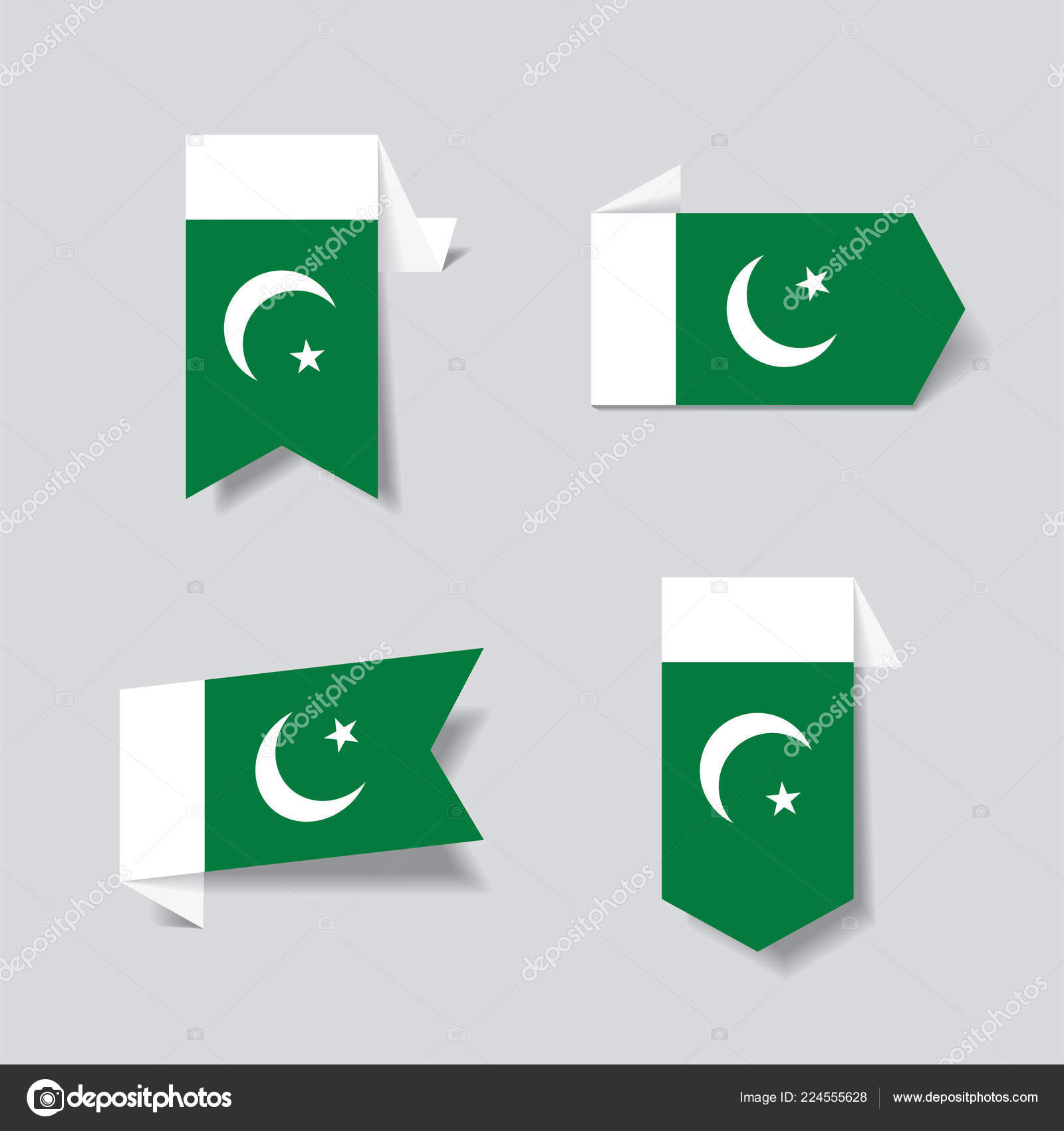 Pakistani flag stickers and labels vector illustration stock vector
