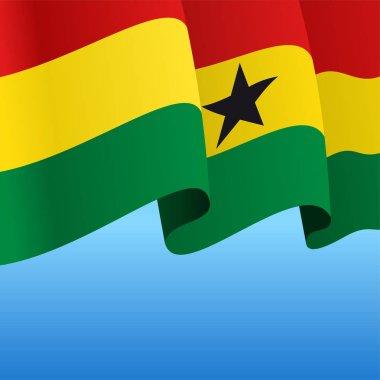 Ghanayan flag wavy abstract background. Vector illustration.