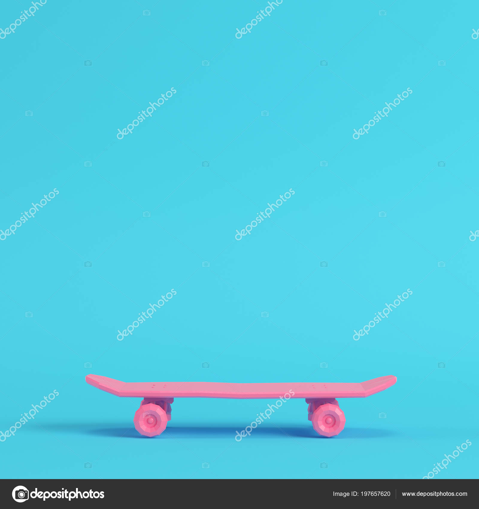 f2e8b135 Pink Low Poly Skateboard Deck Bright Blue Background Pastel Colors — Stock  Photo