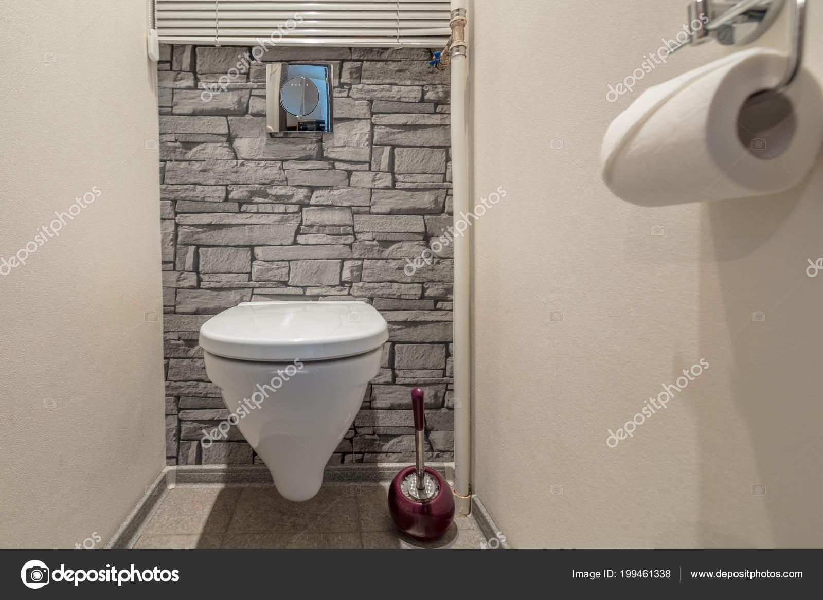 Cuvette Toilette Dans Salle Bain Toilettes Avec Décoration Murale ...