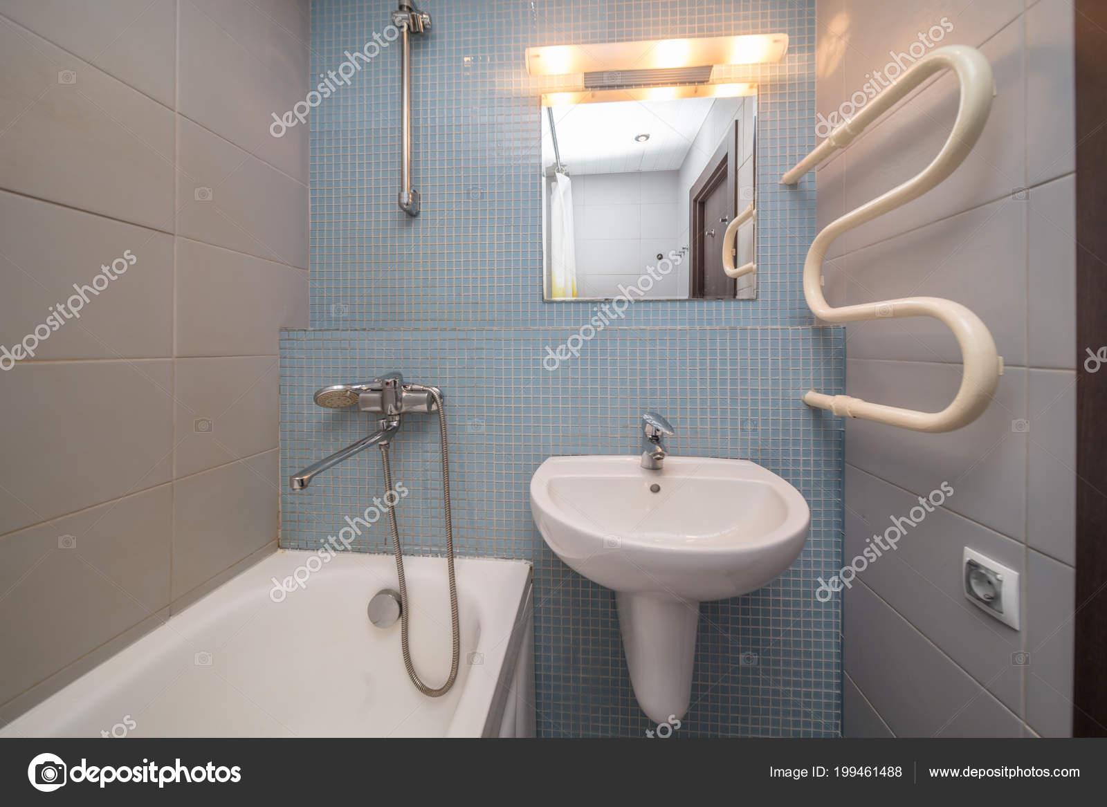 Small Grey Tile Bathroom Bath Tube Sink — Stock Photo © olgasweet ...