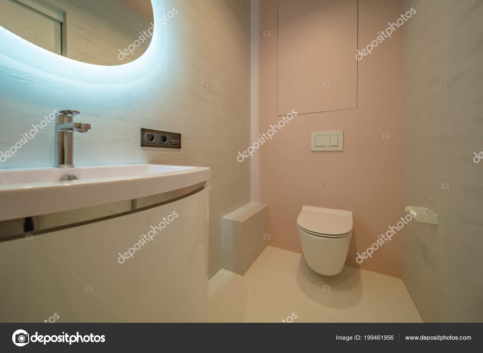 Cuvette Toilette Dans Salle Bain Toilettes Avec Lavabo Miroir