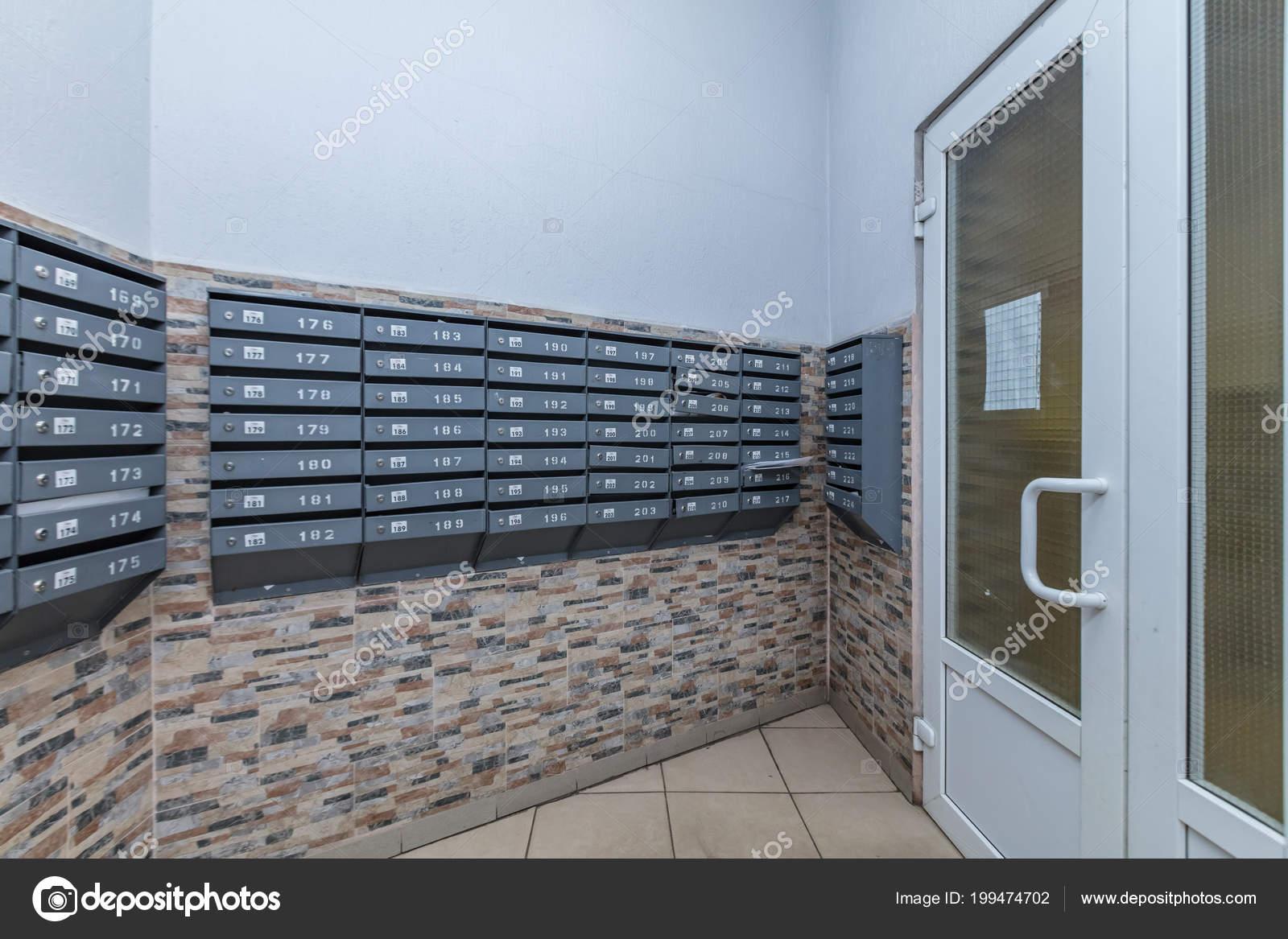 Row Gray Mailboxes Corridor Apartment Building — Stock Photo ...