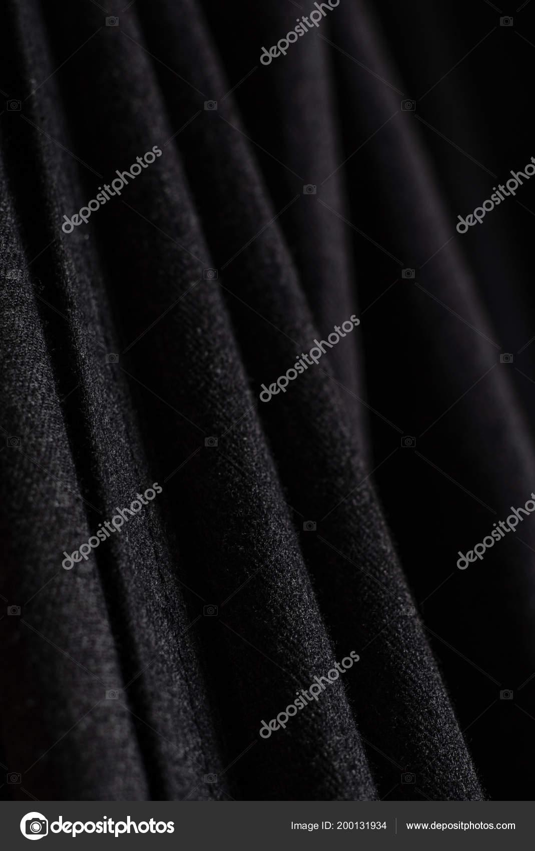 Black Curtain Texture Close Fotografia De Stock