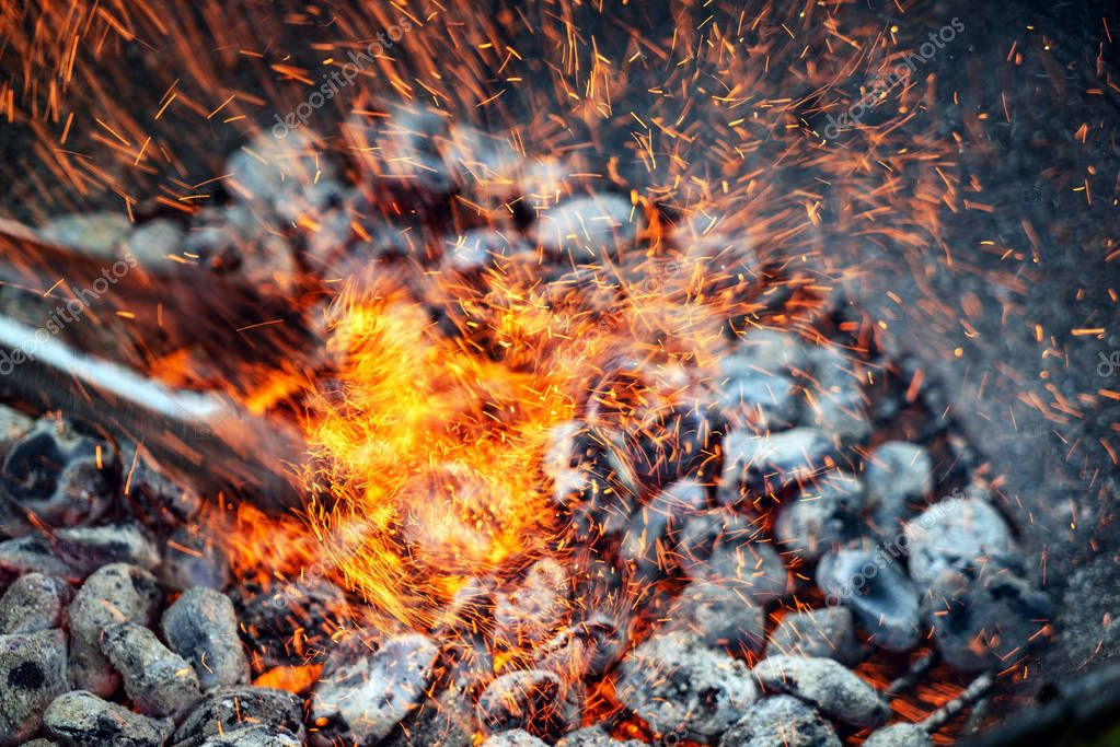 Background of burning hot coal, close up