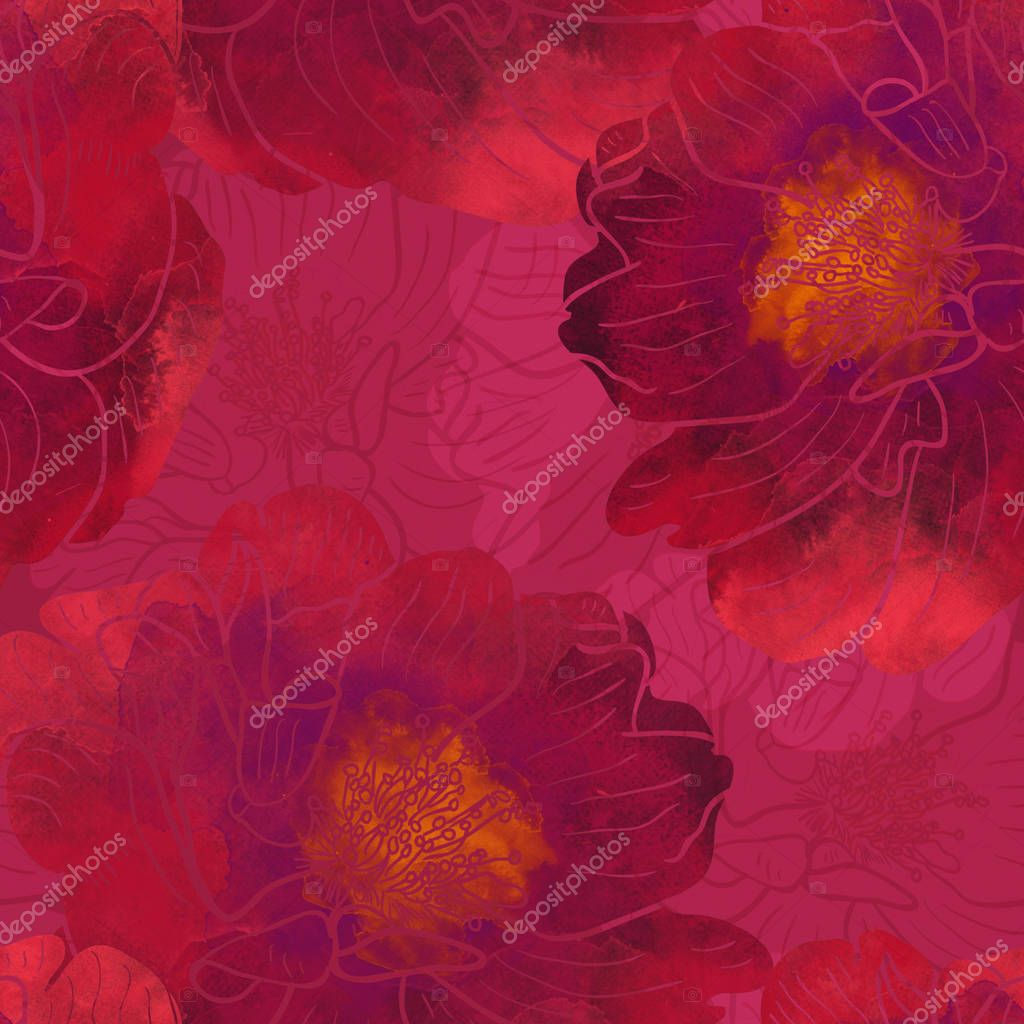 Blooming dog-roses seamless pattern. Abstract watercolor and digital hand drawn picture. Mixed media artwork for textiles, fabrics, souvenirs, wrapping and greeting cards.