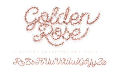 Glitter rose Gold Handwritten alphabet