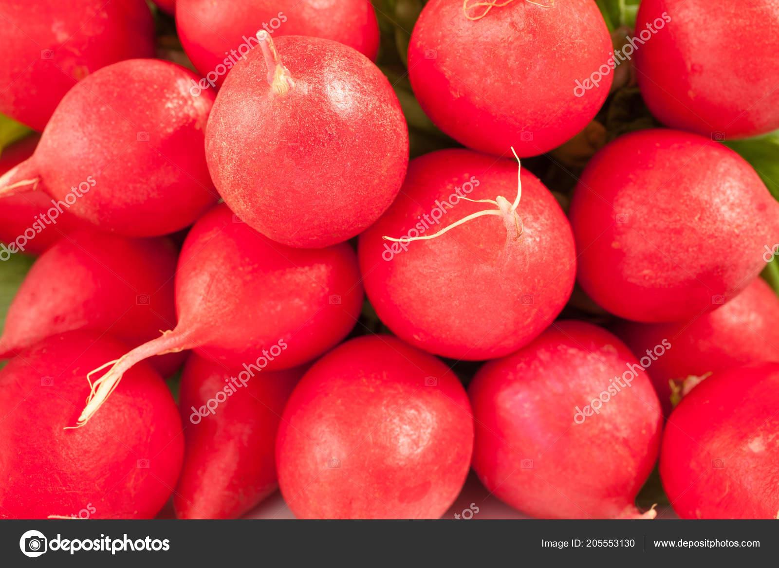Hintergrund Reif Radieschen Essen Gemüse Konzept Stockfoto