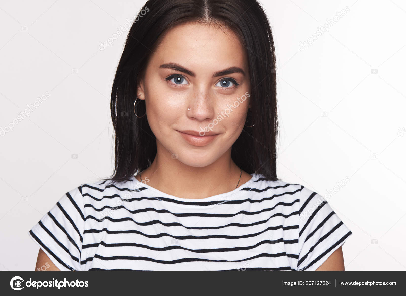 Young cute girl portrait cheerful beautiful woman smiling isolated grey stock photo