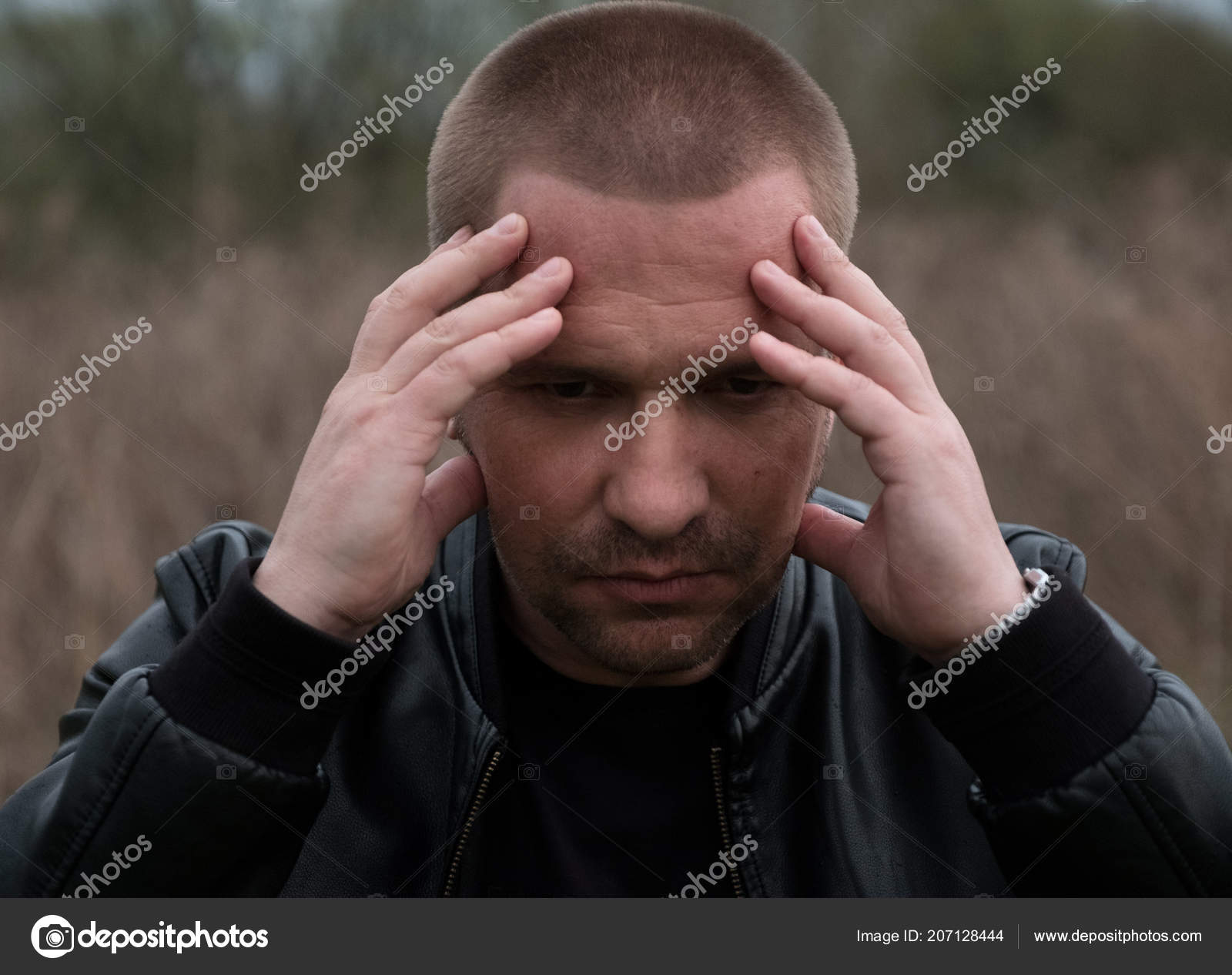 Outdoors Portrait Disappointed Man Black Leather Jacket Guy Holding