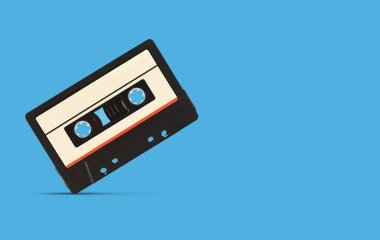 retro music audio tape isolated on blue background with clipping path