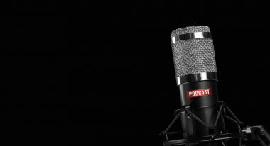 professional microphone isolated on black background. Podcast co