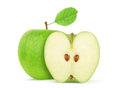 Whole and half green apples Isolated on a white background. Clipping path stock vector