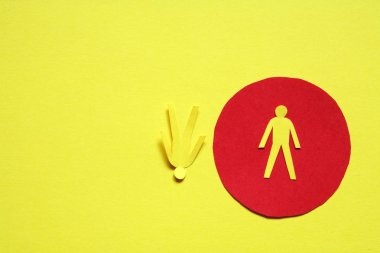 Connection concept. Two men made from yellow paper standing against one opposite another