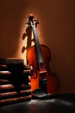 Nice violin near stack of old books against yellow wall