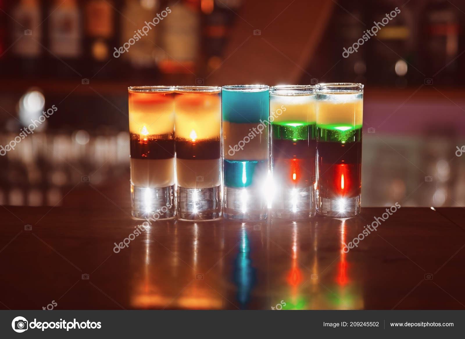 Colorful Alcohol Shot Drinks Bar Cocktail Stock Photo C Sad444