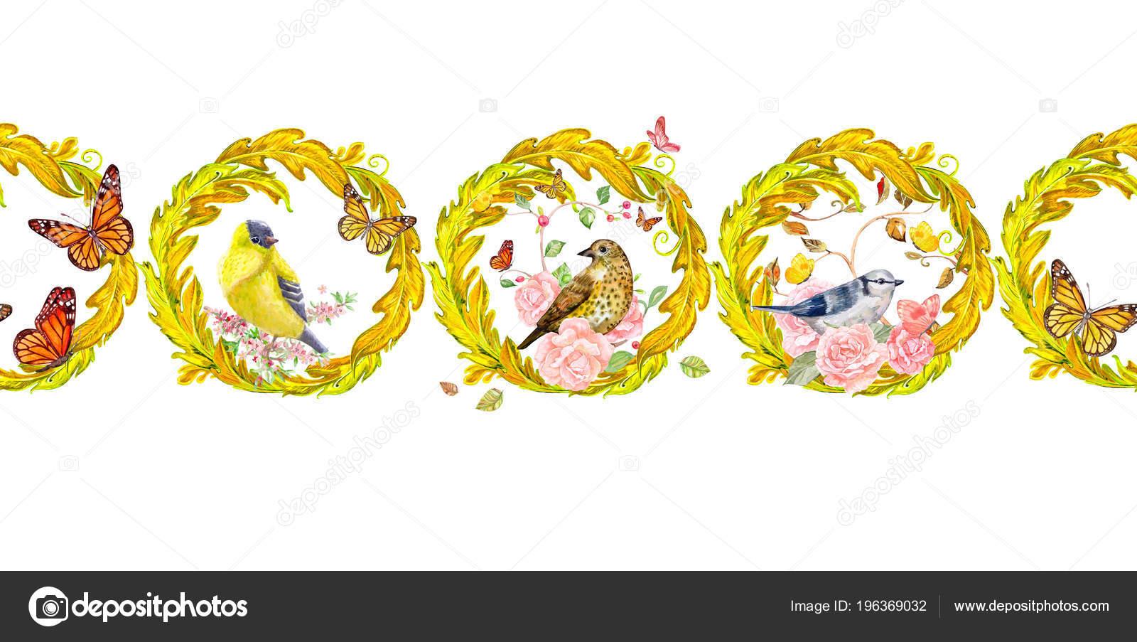 Rico Frontera Con Arabescos Oro Aves — Fotos de Stock © Oksana ...
